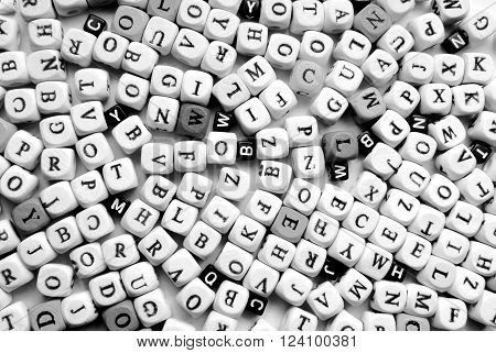 close up of the various letters black and white