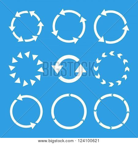 Rotation Direction vector icon set. Collection style is white flat symbols on a blue background. Rotation Direction icons.