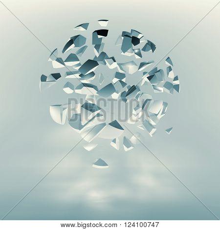 Spherical Cloud Of Explosive Fragments, Blue Toned