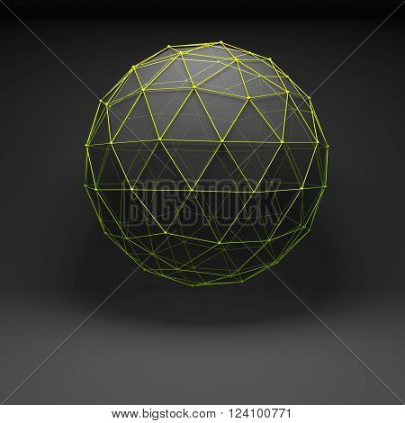 Object With Green Wire-frame Mesh, 3D Render
