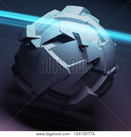 Abstract Spherical Object With Chaotic Fragmentation
