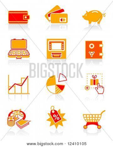 Alle Informationen zum Sammeln, speichern und Ausgaben Geld Symbol festgelegt.