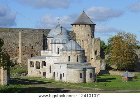 Churches of Ivangorod fortress on the background of the towers, september day. Leningrad region, Russia
