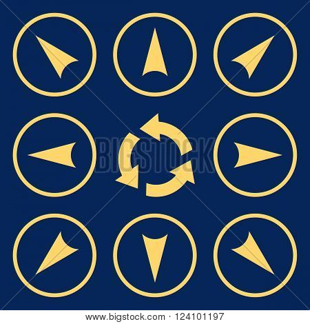 Circled Directions vector icon set. Collection style is yellow flat symbols on a blue background. Circled Directions icons.