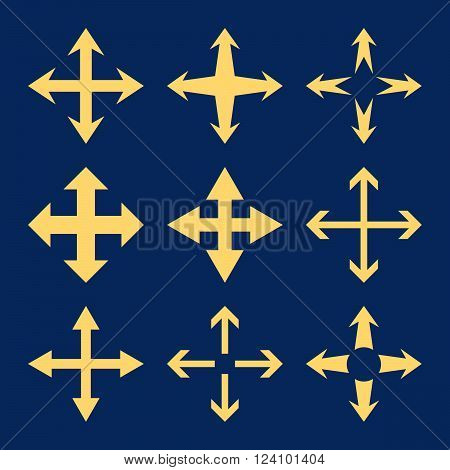 Expand Arrows vector icon set. Collection style is yellow flat symbols on a blue background. Expand Arrows icons.