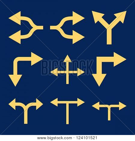 Junction Arrows vector icon set. Collection style is yellow flat symbols on a blue background. Junction Arrows icons.
