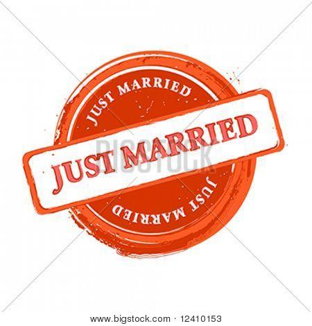 Hochzeit grunge Stempel just over White isoliert married