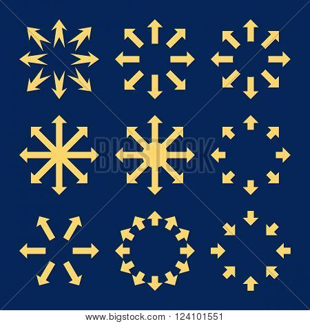 Maximize Arrows vector icon set. Collection style is yellow flat symbols on a blue background. Maximize Arrows icons.
