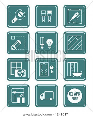 Home repair, remodeling, redecoration and shop services icon-set