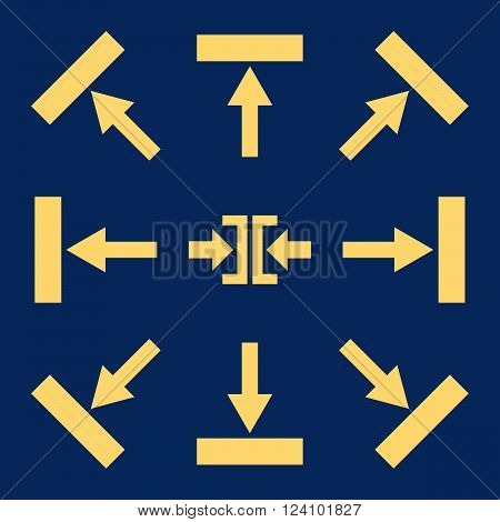 Push Directions vector icon set. Collection style is yellow flat symbols on a blue background. Push Directions icons.