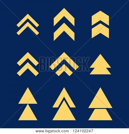 Up Direction vector icon set. Collection style is yellow flat symbols on a blue background. Up Direction icons.