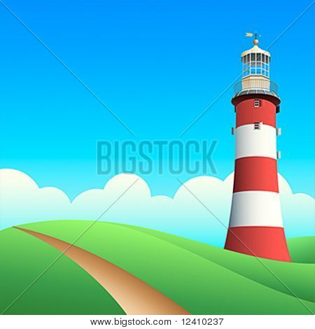 Lighthouse at the summer meadows in sunny day
