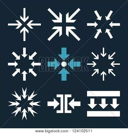 Minimize Arrows vector icon set. Collection style is bicolor blue and white flat symbols on a dark blue background. Minimize Arrows icons.