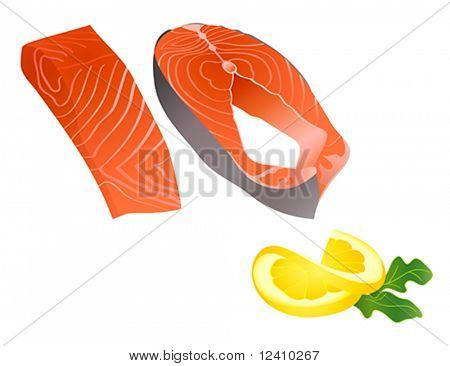 Raw salmon slices with lemon slice and spicy herb