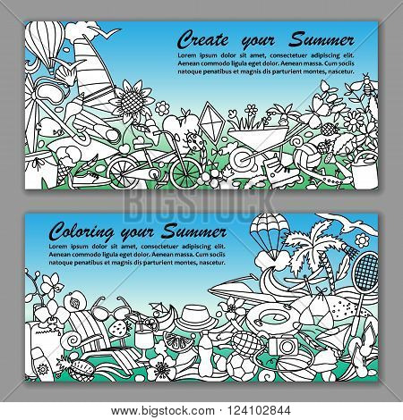 Vector illustration of fliers with hand drawn doodle summer elements