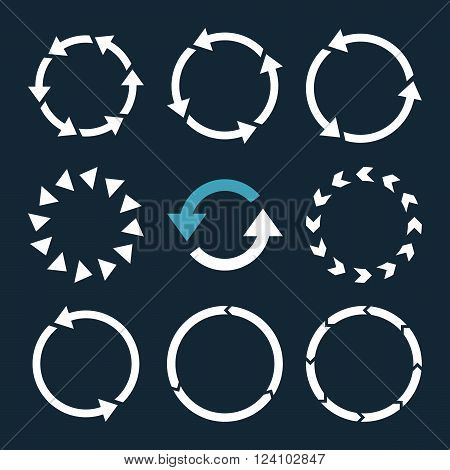 Rotation Direction vector icon set. Collection style is bicolor blue and white flat symbols on a dark blue background. Rotation Direction icons.