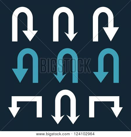 Turn Back Arrows vector icon set. Collection style is bicolor blue and white flat symbols on a dark blue background. Turn Back Arrows icons.
