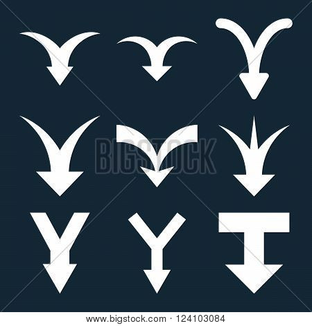 Join Arrows Down vector icon set. Collection style is white flat symbols on a dark blue background. Join Arrows Down icons.