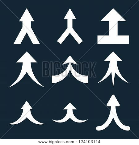 Join Arrows Up vector icon set. Collection style is white flat symbols on a dark blue background. Join Arrows Up icons.