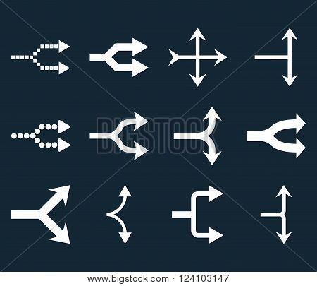 Junction Arrows Right vector icon set. Collection style is white flat symbols on a dark blue background. Junction Arrows Right icons.