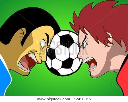 Cartoon soccer (or football) players fighting for the ball