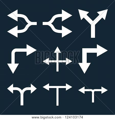 Junction Arrows vector icon set. Collection style is white flat symbols on a dark blue background. Junction Arrows icons.