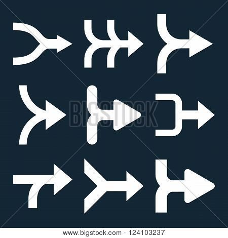 Merge Arrows Right vector icon set. Collection style is white flat symbols on a dark blue background. Merge Arrows Right icons.