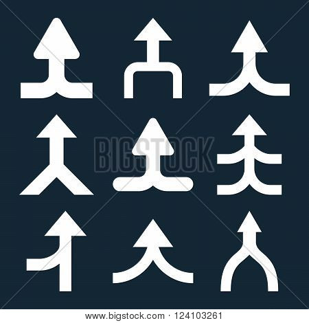 Merge Arrows Up vector icon set. Collection style is white flat symbols on a dark blue background. Merge Arrows Up icons.