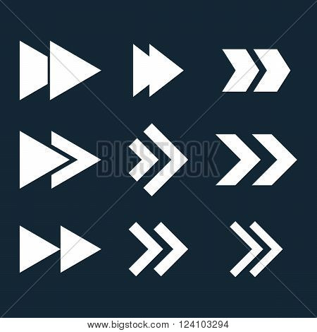 Right Direction vector icon set. Collection style is white flat symbols on a dark blue background. Right Direction icons.