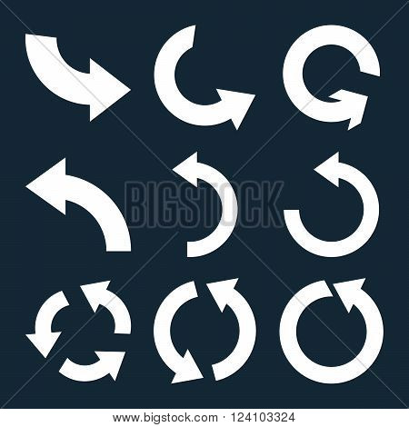 Rotate Counterclockwise vector icon set. Collection style is white flat symbols on a dark blue background. Rotate Counterclockwise icons.