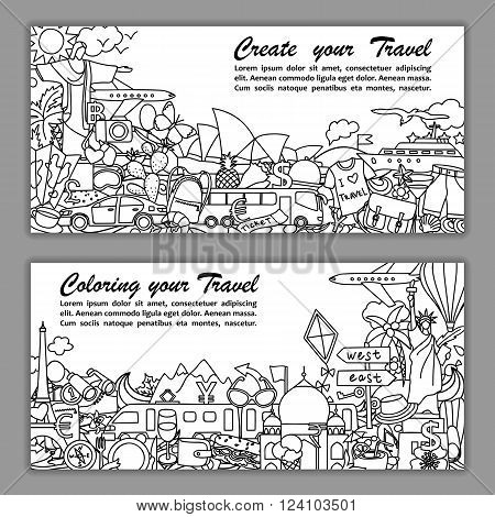 Vector illustration of fliers with hand drawn doodle travel elements