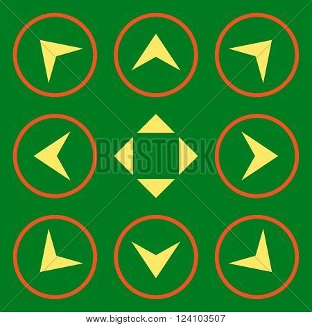 Circled Arrowheads vector icon set. Collection style is bicolor orange and yellow flat symbols on a green background. Circled Arrowheads icons.