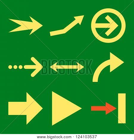 Direction Arrows vector icon set. Collection style is bicolor orange and yellow flat symbols on a green background. Direction Arrows icons.