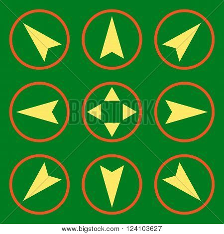 Navigation Directions vector icon set. Collection style is bicolor orange and yellow flat symbols on a green background. Navigation Directions icons.