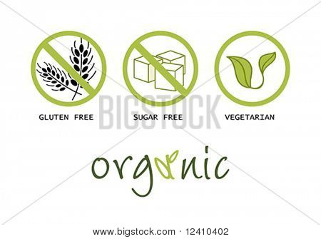 Healthy food symbols - gluten free, sugar free, organic and vegetarian