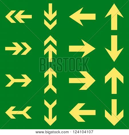 Arrow Directions vector icon set. Collection style is yellow flat symbols on a green background. Arrow Directions icons.