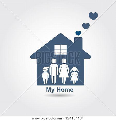 Family graphic design. Home concept. Vector illustration