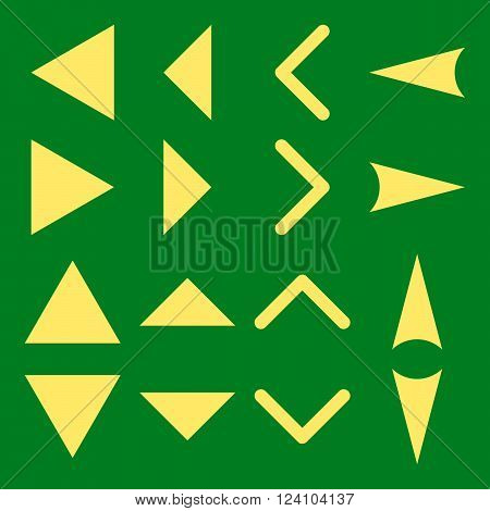 Arrowheads vector icon set. Collection style is yellow flat symbols on a green background. Arrowheads icons.