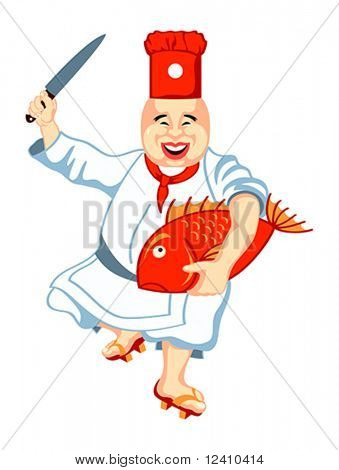 Joyful japanese sushi chef with anxious big fish and knife