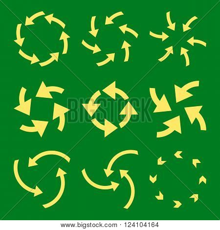 Cyclone Arrows vector icon set. Collection style is yellow flat symbols on a green background. Cyclone Arrows icons.