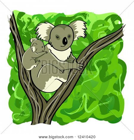Koala mother and baby bear sitting on the tree