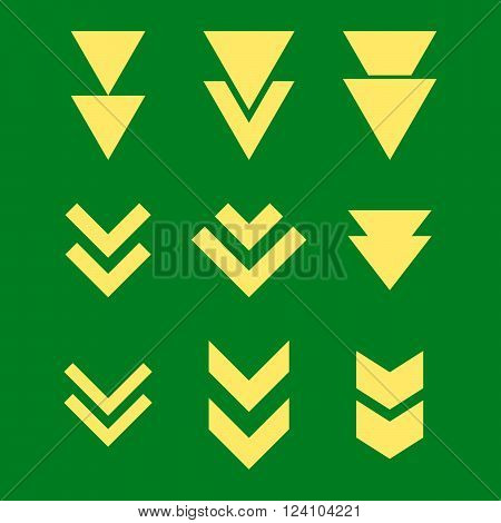Down Direction vector icon set. Collection style is yellow flat symbols on a green background. Down Direction icons.