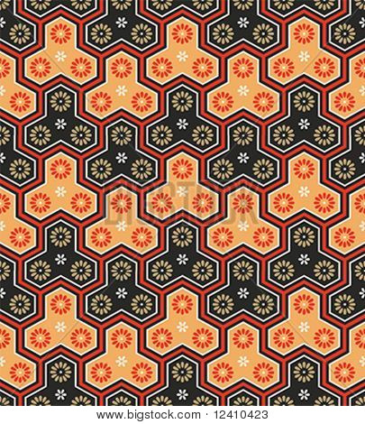 Classic japanese seamless pattern in bright warm colors
