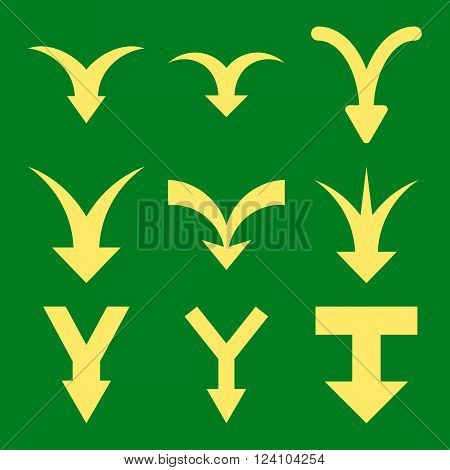 Join Arrows Down vector icon set. Collection style is yellow flat symbols on a green background. Join Arrows Down icons.