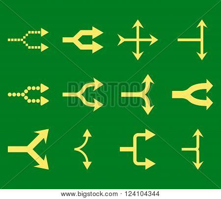 Junction Arrows Right vector icon set. Collection style is yellow flat symbols on a green background. Junction Arrows Right icons.