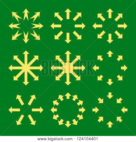 Maximize Arrows vector icon set. Collection style is yellow flat symbols on a green background. Maximize Arrows icons.