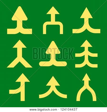 Merge Arrows Up vector icon set. Collection style is yellow flat symbols on a green background. Merge Arrows Up icons.