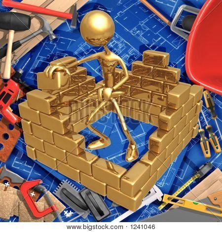 3D Construction Home Improvement Concept Building A Brick Wall