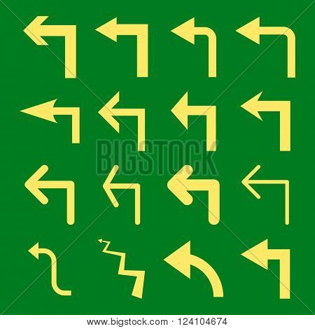 Turn Left vector icon set. Collection style is yellow flat symbols on a green background. Turn Left icons.