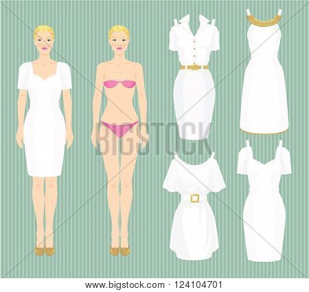 Doll with clothes on striped color background. Body template. Set of template paper white dress. Pretty girl in elegant white dress